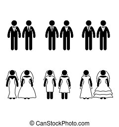 Stick figure same-sex marriage set