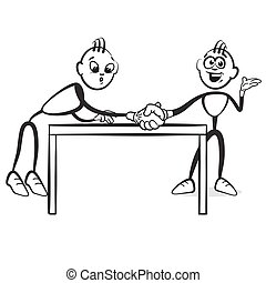 Stick figure series emotions - Pull over the table,...