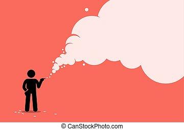 Stick figure smoker smoking cigarette with a lot of smoke.