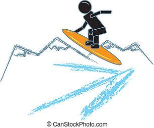 Stick Figure Snowboarding