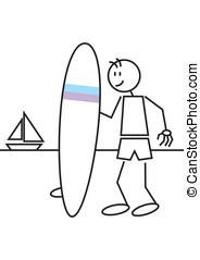 Stick figure surf
