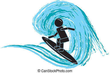 Stick Figure Surfing - simple drawing of a stick figure...