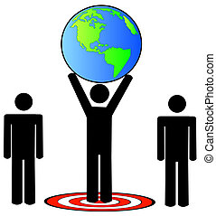 team standing on target holding the earth