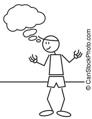 stick figure thinking - Illustration of a stick figure of a...