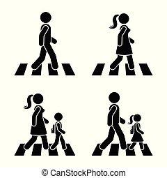 Stick figure walking pedestrian vector icon pictogram. Man, ...