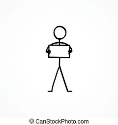 Stick figure with a sign plate