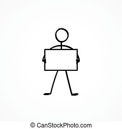 Stick figure with a sign plate - Stick figure with an empty ...