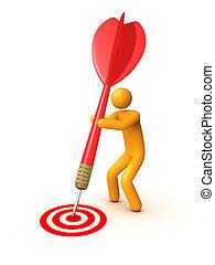 Stick figure with dart
