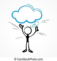 Stick figure with dialog speech bubble on white, linear. ...