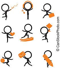 stick figure with items - nine stick figure holding...
