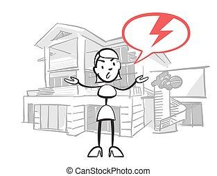 Stick figure woman house insurance case