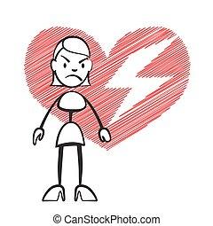Stick figure woman with broken heart