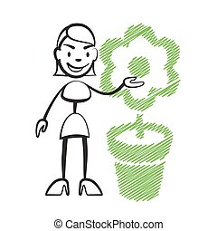 Stick figure woman with flower