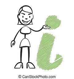 Stick figure woman with info sign