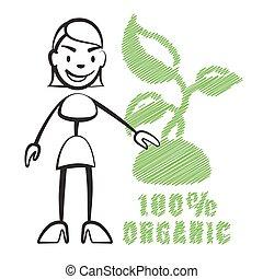 Stick figure woman with symbol 100% Organic