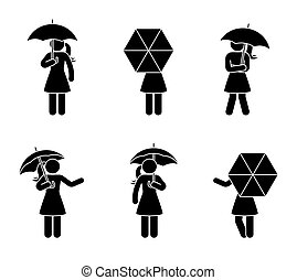 Stick figure woman with umbrella icon set
