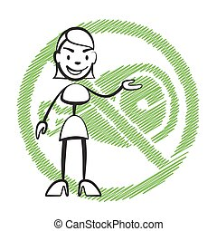 Stick figure woman without meat symbol, Stickman vector...
