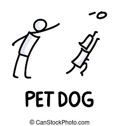 Stick figures icon of pet dog and owner. Puppy pictogram with text