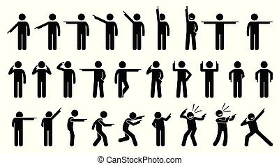 Stick Figures of a Person Pointing Finger.