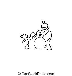 Stick figures people and winter activities