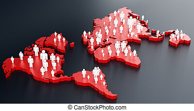 Stick figures standing on world map. 3d illustration