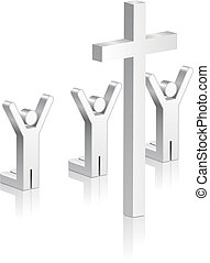 Stick Figures Worshipping Religious Cross Original Vector...