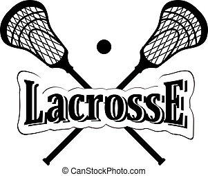 stick., gekreuzt, lacrosse