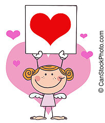 Girl Cupid Holding A Red Heart Sign