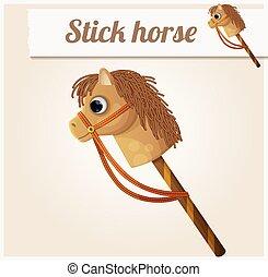 Stick horse toy. Cartoon vector illustration
