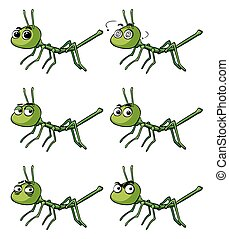 Stick insect with different emotions