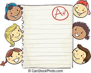 Stick Kids Around Paper showing A Plus Grade