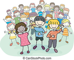 Stick Kids Crowd - Illustration of Stick Kids Leading a...