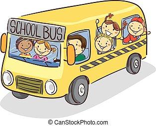 Stick Kids on School Bus - Vector Illustration of Stick Kids...