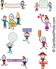 stick kids with various signs set