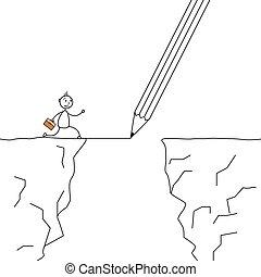 Stick man crossing the cliffs