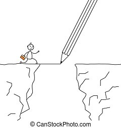 Stick man crossing the cliffs