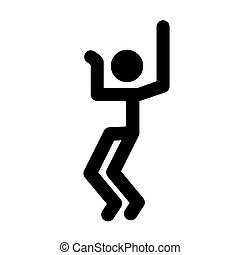 Stick man, dynamic position icon. Figures, standing posture symbol, sign. Pictogram isolated on white background. Abstract person posing for presentation. Vector illustration.