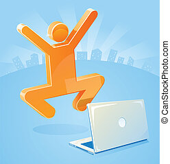 Marketing Success in an E-business as stick figure jumps for joy behind his laptop.