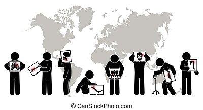 Stick man hold monitor screen :show skeleton,world map (...