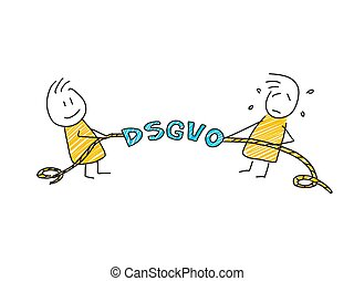 stick man in front of DSGVO letters. General Data Protection Regulation. GDPR, RGPD, DSGVO, DPO. Concept vector illustration. Flat style. Horizontal