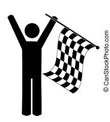 stick man or figure waving checkered flag - winner