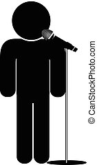 stick man say into microphone