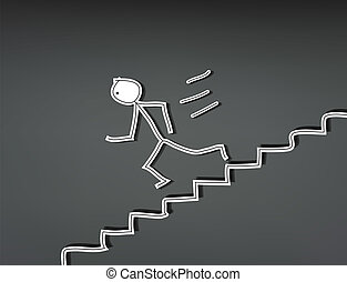 Stick man stairs down