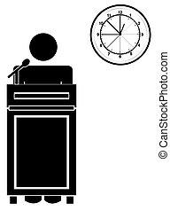 stick man standing at podium with clock