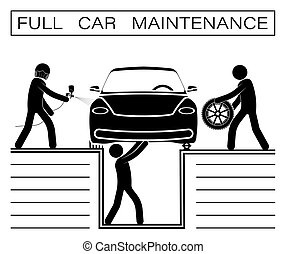 stick man, team repairman repairs car in workshop. Full maintenance of technical condition of car, inspection before sale. Painting, tire and oil change. Vector