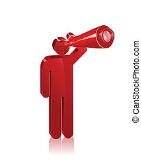Stick figure looks out with a telescope. Concept to represent vision or looking forward.