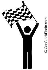 stick manwaving checkered flag - winner