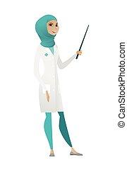 stick., muçulmano, ponteiro, segurando, doutor