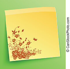 Stick note with abstract flowers