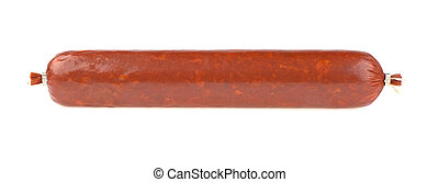 Stick of sausage on a white background, isolated.